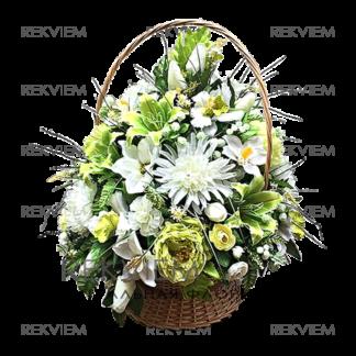 корзина из искусственных цветов зеленая