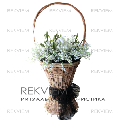 корзина на похороны из искусственных цветов