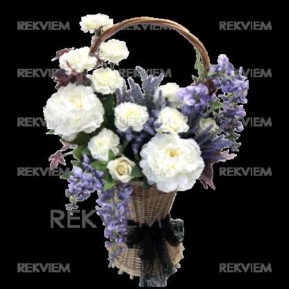 Ритуальная корзина из искусственных цветов - пионов, гвоздик
